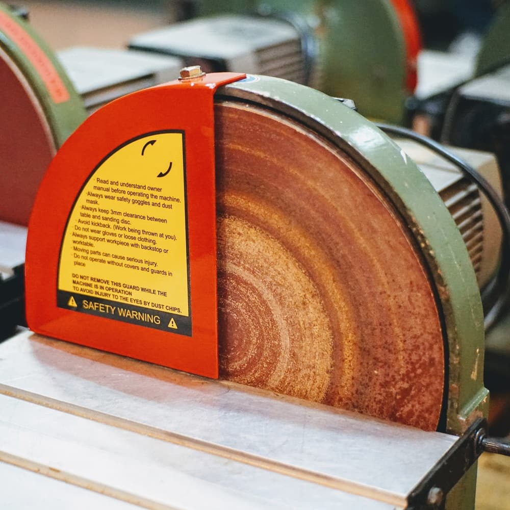 Safety guards for sanding machine
